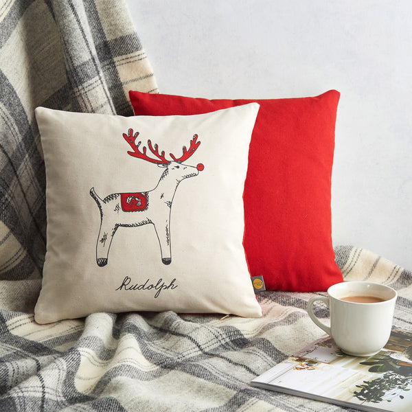 Red nosed reindeer Christmas throw pillow with red and charcoal design, Rudolph Christmas cushion with red and charcoal design, Rudolph the Red nosed reindeer Christmas pillow, Hand illustrated Red reindeer Christmas pillow