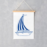 Wall print featuring large sailboat design in navy, Sail boat wall print featuring a navy and white striped sail sail boat