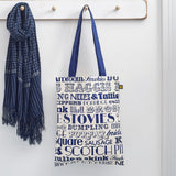 Canvas bag featuring repeating pattern of traditional Scottish meals, Navy canvas bag featuring repeating script of traditional Scottish meals