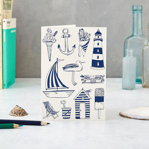 Greeting card featuring iconic nautical and beachside icons in navy and white, Nautical greeting card featuring beach icons in navy and white, Navy and white nautical greeting card featuring hand illustrated nautical icons