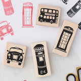Set of 4 London rubber stamp set, Iconic London stamp set, London stationary stamp set, London scrapbooking stamp set, Hand illustrated London stamp set, London icon set of 4 stamps