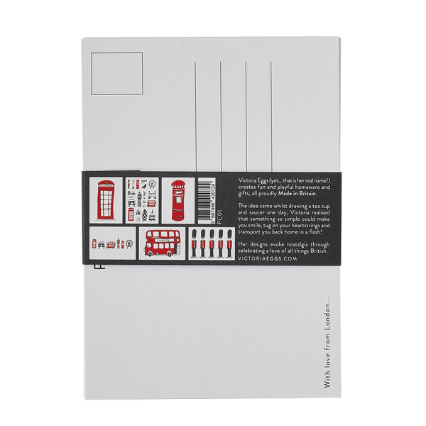 London icons post cards pack of 6, London bus, big ben, Oxo Tower, post box, taxi, telephone box, hand made in Britain, Victoria eggs,