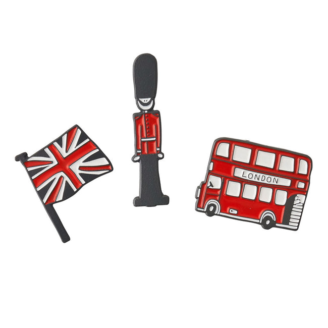 London Bus, Queen's Guard, & Union Jack Enamel Pin Badges - GIFT SET of 3