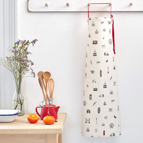 Iconic London apron, Men's London apron, Women's London apron, Hand illustrated London apron, London landmarks apron, London kitchen gifts, London homeware and kitchen gifts, Unisex London apron, Cotton London apron