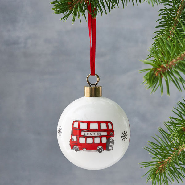 London bus Christmas ornament, Hand illustrated London bus bauble, London Christmas ornament, Iconic London bauble, Red double decker bus ornament, London glass ornament