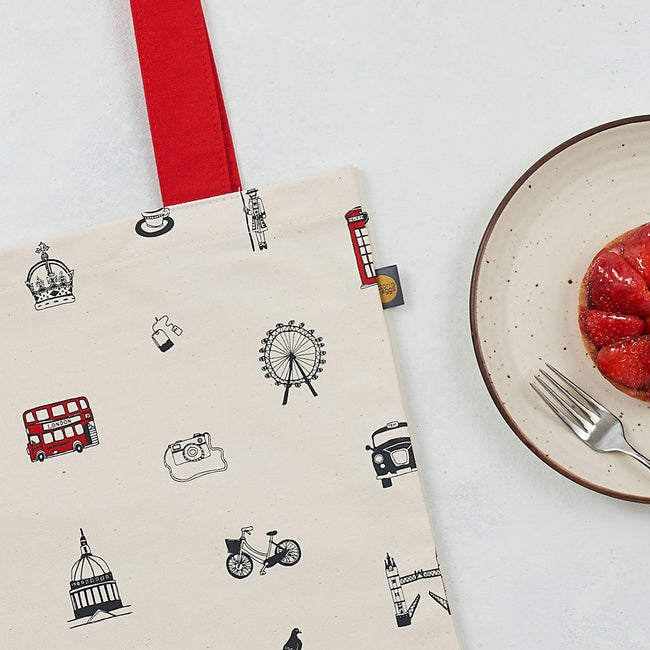 Simply London Canvas Bag, shopper bag, tote bag, London Bus, Big Ben, St Paul's Cathedral, Queen's Guard, made in Britain, Victoria eggs