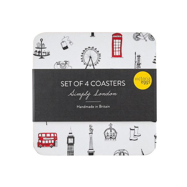 Simply London Charcoal Coaster set of 4