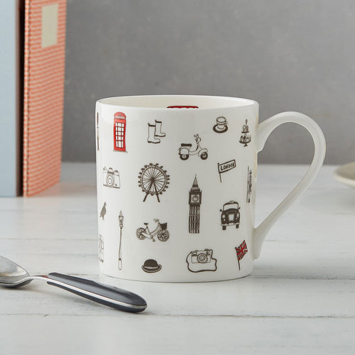 London fine bone china mug, London china mug, London tea mug, Mug featuring iconic London icons, London themed mug, Hand illustrated London mug, London souvenirs and gifts, Iconic London kitchen gift