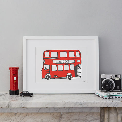 Hand illustrate London bus wall print, Red double decker London bus print, Simple London bus print, Iconic London print, Red and charcoal London wall print