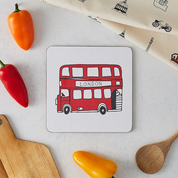 Iconic London Bus pot stand, Red Double Decker bus pot stand, London kitchen and homeware gifts, Hand Illustrated London pot stand, red London Bus kitchen accessories, London kitchen gifts