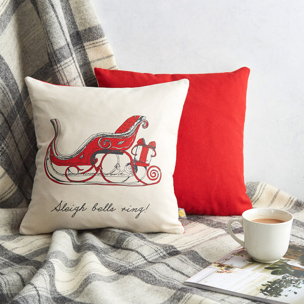 Santa's sleigh Christmas cushion in red, Red and charcoal Santa's Sleigh pillow featuring sleigh bells ring script, Sleigh bells ring Christmas pillow, Red Christmas cushion featuring Santa's Sleigh, Father Christmas's sleigh pillow, Small Christmas pillow featuring Father Christmas's sleigh