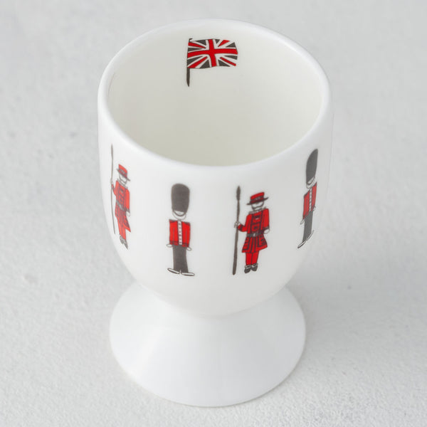 Queen's Guards, Beefeater, London egg cup, fine bone china, hand decorated, Made in Britain, Victoria Eggs