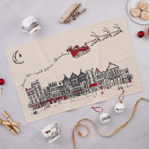 Santa's Sleigh Tea Towel, Mug and Bauble Gift Set