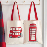 Red double decker bus canvas bag, reusable London canvas bag, London telephone box canvas bag, Red London canvas bag, reusable London icons canvas bag, durable London canvas bag, double sided London canvas bag