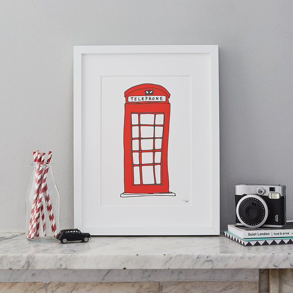 London telephone box wall print, London wall print, London homeware and gifts, Red London wall print, Telephone box wall print, Simple London wall print