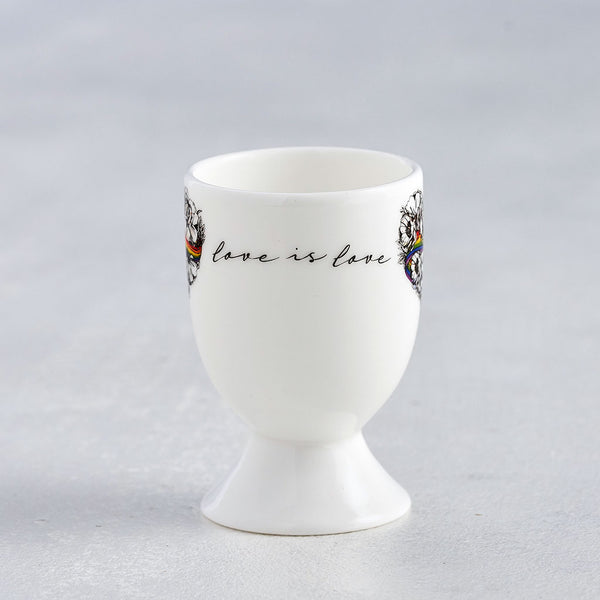 Love is Love, LGBTQ, Gay Pride egg cup, fine bone china, rainbow, heart, roses, hand decorated, made in Britain, Victoria Eggs