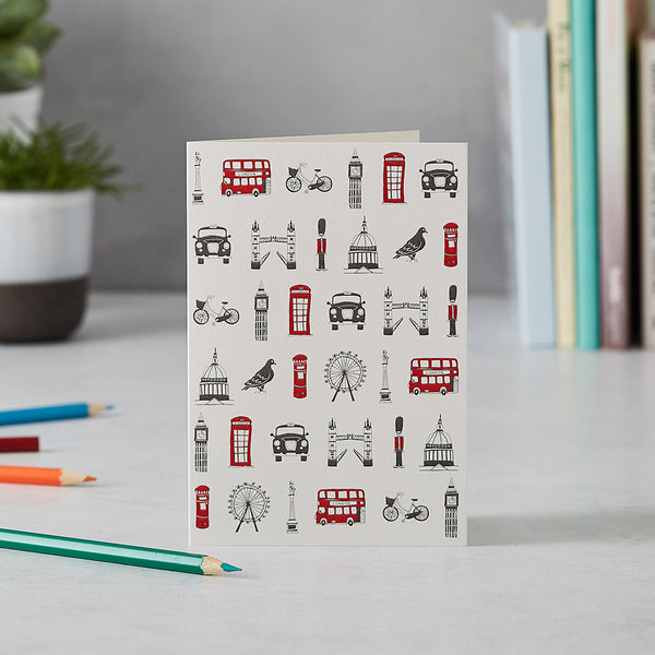 Greeting card with repeating London design, Greeting card with London telephone box, London stationary set, Greeting card with iconic London landscapes, Charcoal and red London greeting card, hand illustrated London greeting card