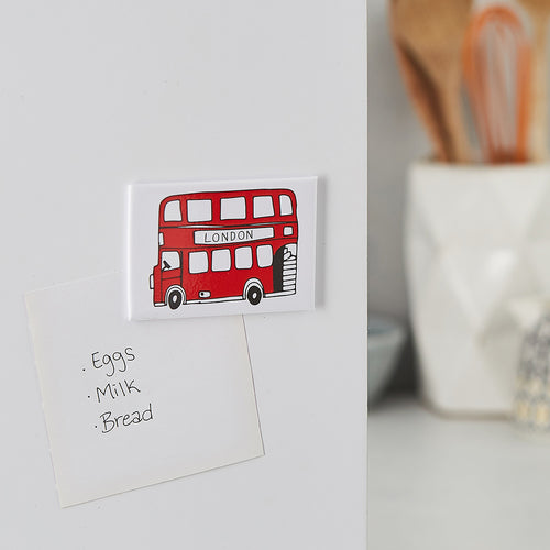 Red London Bus magnet, Iconic London Bus magnet, London fridge magnet, London Double Decker bus magnet, Simple London gift, Hand illustrated London Bus magnet