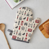 London oven mitt, Charcoal and red London over mitt, Oven mitt with London design, Oven mitt featuring iconic London landscapes, Oven mitt with London Eye, London Oven mitt gift, London kitchen gifts, Iconic London kitchen gifts