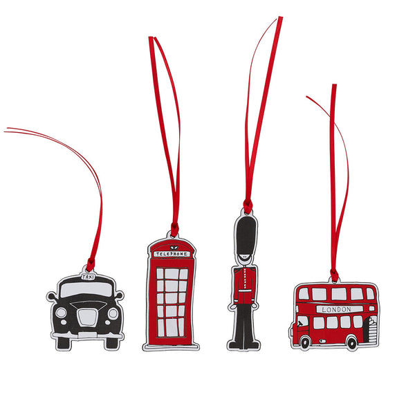 Set of 4 London Wooden Decorations