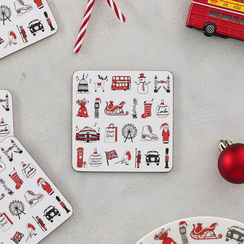 Set of four London coasters with iconic London Christmas icons, London Christmas coaster set featuring iconic London landscapes, Coasters with repeating Christmas designs from London, Christmas coasters with snowman and Santa's sleigh, Christmas coasters with The London Eye and Tower Bridge