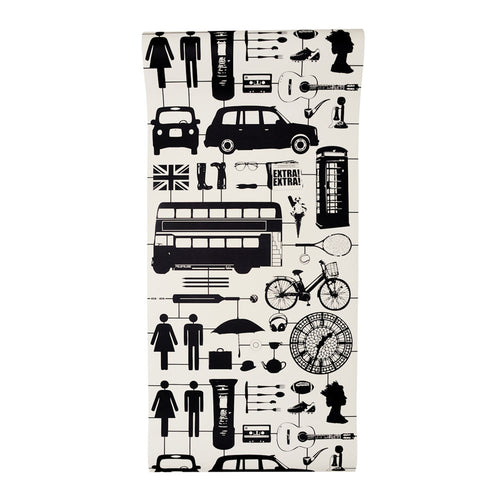Airfix London Wallpaper Black