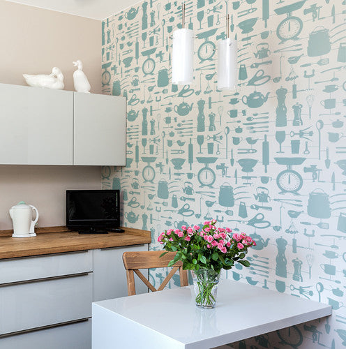 Kitchen wallpaper featuring repeating pattern of kitchen utensils, Wallpaper with duck egg colored kitchen utensils pattern, Hand illustrated kitchen wallpaper in light teal