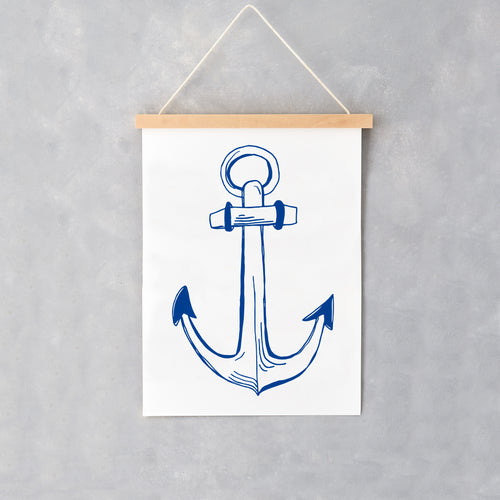 Wall print featuring blue nautical anchor, Anchor hanging wall print featuring blue nautical design, Hanging wall print featuring large nautical anchor design in navy