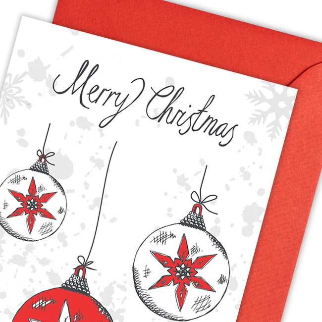 Christmas Baubles Greeting Card - pack of 5