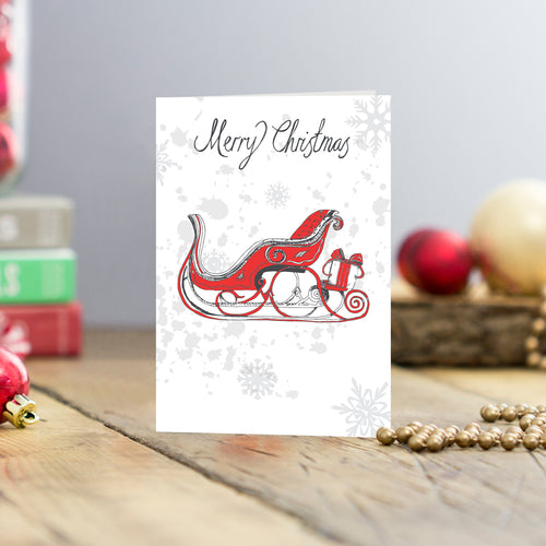 Set of five Santa's sleigh Christmas greeting card, Santa's sleigh Christmas cards set of five, Five Santa's sleigh Christmas cards, Red and charcoal sleigh greeting cards set, St. Nicolas's sleigh Christmas greeting card set
