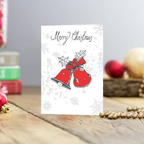 Set of five Merry Christmas and Christmas bells greeting card, Red bells with holly and Merry Christmas script greeting cards, Christmas card set featuring Christmas bells, Merry Christmas greeting cards featuring red bells and holly