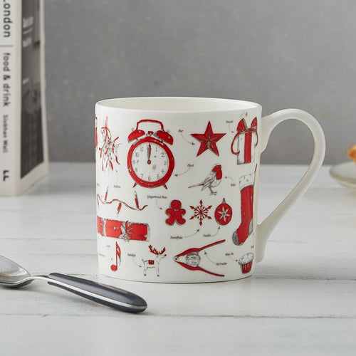 Fine bone china Christmas mug featuring repeating Christmas icon design, Fine china Christmas mug featuring various Christmas icons such as snowflakes and Santa's sleigh, Hand illustrated Christmas designs printed on fine bone china mug, Red and charcoal Christmas mug featuring repeating pattern of Christmas traditions