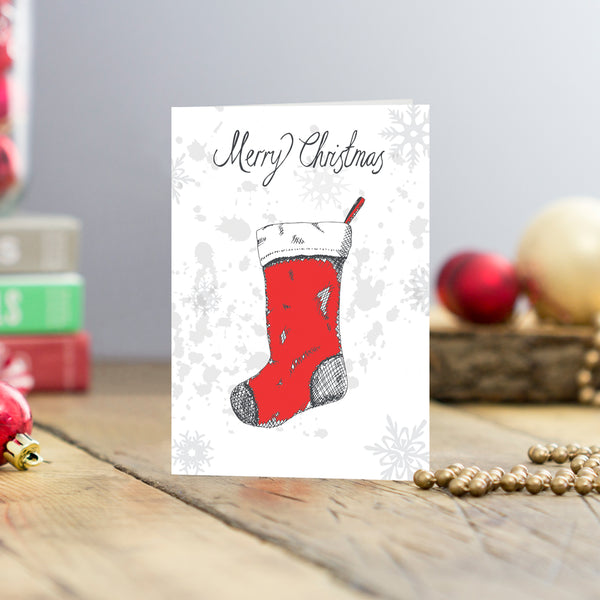Set of five Christmas stockings Christmas cards, Set of five greeting cards featuring red Christmas stockings and Merry Christmas script,