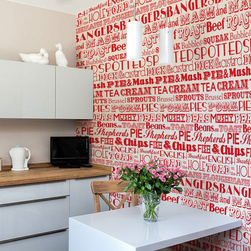 English Dinner Wallpaper Red