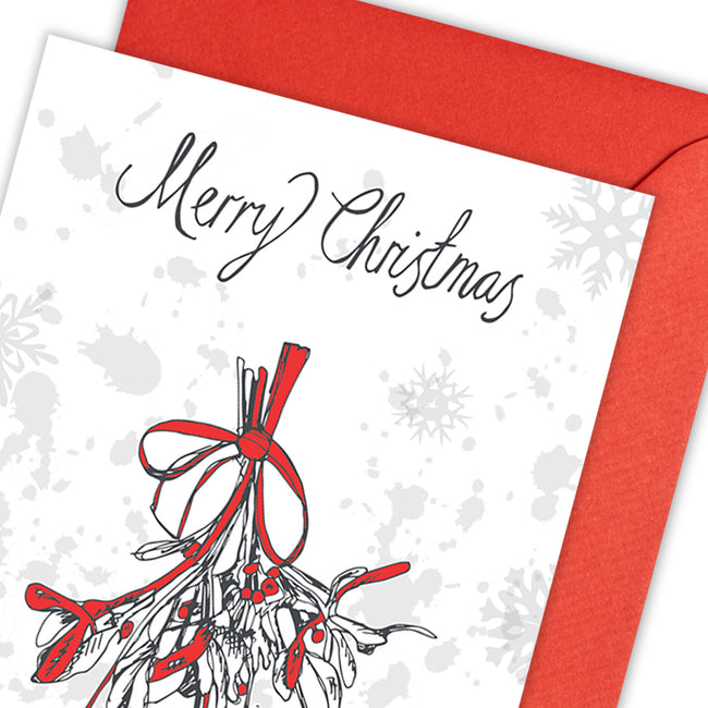 Christmas Mistletoe Greeting Card - pack of 5