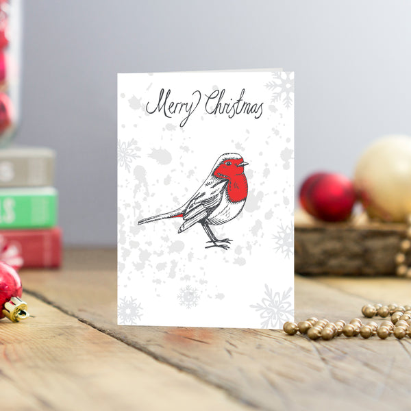 Set of five Red Robin Christmas greeting cards, Greeting card set featuring Red Robin and Merry Christmas script, Charcoal and red Red Robin Christmas cards set of five, Five Christmas cards featuring a Red Robin and Merry Christmas script