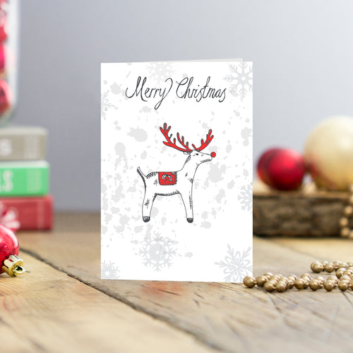 Set of five reindeer Christmas greeting cards, Charcoal and red reindeer Christmas card set, Rudolph Christmas cards featuring Merry Christmas script, Red nosed reindeer Christmas greeting card set