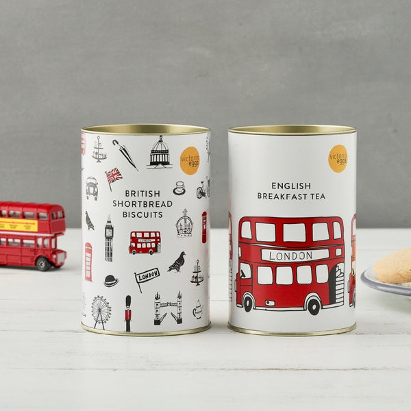 Tea and biscuit tin gift set, London tea and biscuits gift, Simple London gift, Edible London gift set, Set of 2 tea and biscuits gift, British made tea and biscuits, Hand illustrated London tea and biscuit gift set