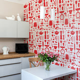 Kitchen wallpaper featuring red repeating pattern of kitchen utensils and essentials, Red kitchen wallpaper featuring kitchen utensils and designs, hand illustrated wallpaper in red featuring various kitchen items, Red wallpaper featuring kitchen materials and tools