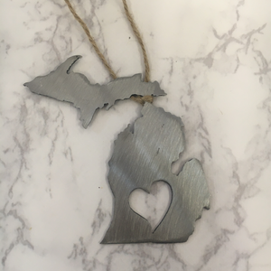 Michigan Heart Ornament (Solid)
