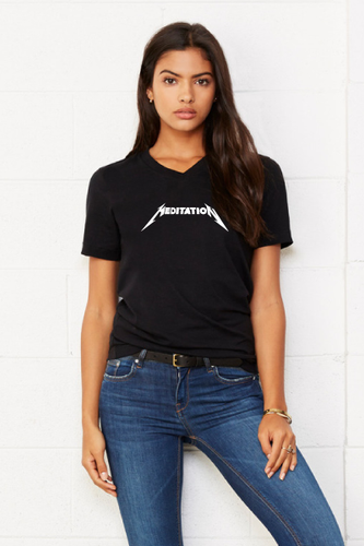 Meditation Unisex V-Neck Tee - Black