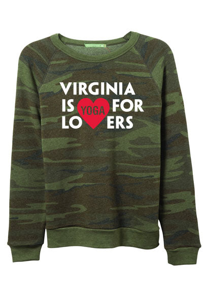 Virginia is for Yoga Lovers Women's Fleece Sweatshirt - Camo