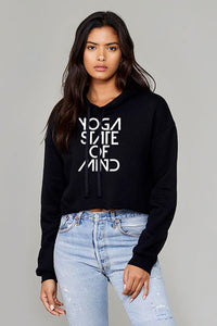 Yoga State of Mind Women's Crop Fleece Hoodie - Black
