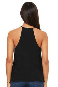 Yoga State of Mind Women's Flowy High Neck Tank - Midnight Black