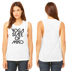 Yoga State of Mind Women's Muscle Tank - White Slub