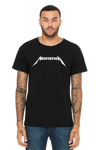 Meditation Unisex Raw Neck Tee - Midnight Black