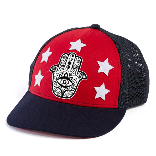 Hamsa Trucker Hat - Red/Blue