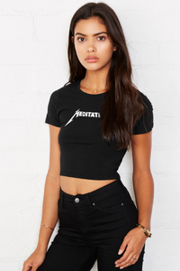 Meditation Women's Crop Tee - Midnight Black