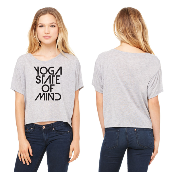 Yoga State of Mind Women's Flowy Boxy Tee - Light Grey