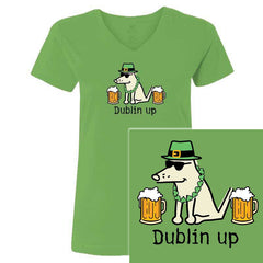 Teddy The Dog Dublin Up Ladies' V-Neck Tee